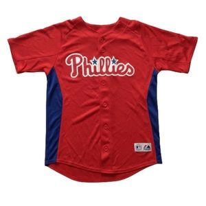 Majestic MLB Phillies Howard 6 Red Jersey Youth L